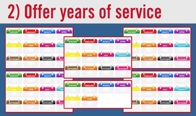 2) Offer years of service