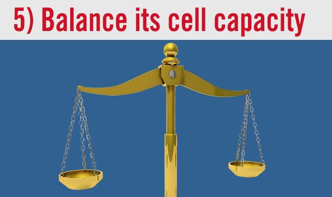 5) Balance its cell capacity